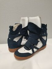 Isabel Marant Wedge Sneaker Shoes Size 38 White Navy Blue Suede Fashion Hi-top