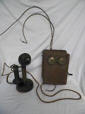 Old Vtg Kellogg Candlestick Telephone w/Ringer Box Stromberg Carlson Earpiece