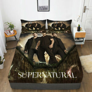 Supernatural Deep Pocket Fitted Sheet 3PCS Set Soft Cotton Bed Sheet Pillowcases