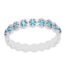 Blue Topaz Half Eternity Stacking Women Wedding Ring 925 Silver Stackable Band