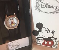 New in Box Disney Mickey Mouse Watch Black Band Moving Hands Classic