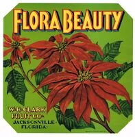 ORIGINAL POINSETTIA CRATE LABEL FLORIDA VINTAGE CHRISTMAS XMAS JACKSONVILLE 1930