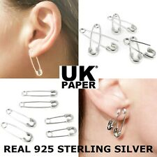 NEW PAIR SOLID 925 STERLING SILVER PAPER CLIP SAFETY PIN HOOP DROP CUFF EARRINGS