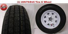 """15"""" White Spoke Wheel & ST205/75D15 Bias Trailer Tire 5x4.5 New Free Shipping"""