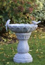 More details for slate stone pedestal bird bath feeder outdoor statue garden ornament decor