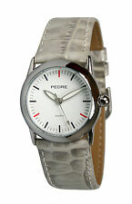 Pedre Women's Silver-Tone Watch w Ice Grey Leather Strap 7915SX. New and unworn.