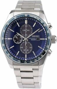 Seiko Solar Chronograph Blue Dial 43.2mm Men's Quartz Watch SSC719