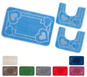 Tappeto bagno parure set 3 pezzi soffice assorbente antiscivolo lavabile moderno