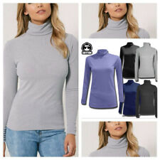 Womens Lady Long Sleeves Roll High Neck Polo Turtle T-Shirt Tops Girls Vest Lot