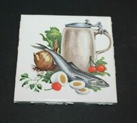 Vintage Tile Liner Lavender Fish Pattern on Black