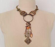 NWT $48.00 CHICOS Brass Tone Wood-Stone ANDORA Necklace w/Large Drop Pendant