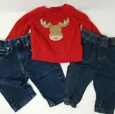 Lot of 3 Toddler Boy's Clothes - Size 12-18M - Red Sweatshirt and 2 Pairs Jeans