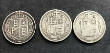 More details for 3 x queen victoria solid silver shillings 1887, 1889 & 1890 16.10 g. free uk p&p