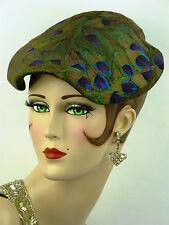 """Cappello VINTAGE 1950s USA, Urbi et Orbi, piuma di pavone donna """"NUOVO LOOK"""" Giorno Cappello"""