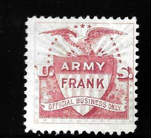 HICK GIRL-OLD MINT U.S. OFFICIAL TELEGRAPH STAMP  ARMY FRANK ( RED )      X9073
