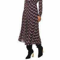 MICHAEL KORS NEW Women's Chevron Georgette Midi Pleated Skirt TEDO