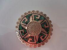 schöne, alte Brosche ( und Anhänger ) , 925 Silber , Onyx u. Malachit  ,  Mexico