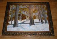 VINTAGE WINTER SNOW AUTUMN STREAM PRIMITIVE GRAY DAY LANDSCAPE TREES PAINTING