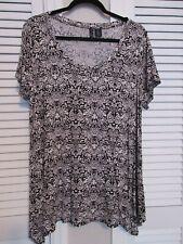 Cynthia Rowley Woman Size 1X Black White Paisley Short Sleeve Blouse Top