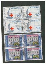 SWITZERLAND HELVETIA 1963 PUBLICITY ISSUE BLOCKS OF 4 HIGH VALUES BERN VFU