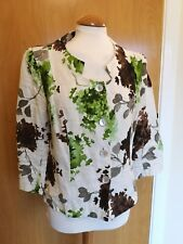 Ladies ALEX and CO Linen Jacket Size 12 Ivory Green Floral Smart Party
