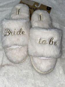"""Dearfoams """"Bride ta be"""" Memory Foam Slippers L 9-10 Indoor Outdoor NWT"""