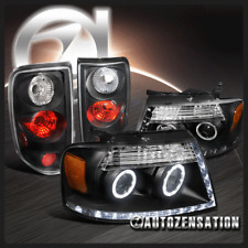 Ford 2004-2008 F150 Black Halo Projector LED DRL Headlights+Tail Lamp