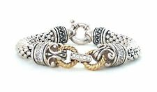 Braided White Sapphire Accented Sterling Silver & 14k Gold Bracelet Filigree