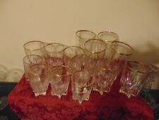 Set of 15 Double Gold Rim Star Bottom Federal  Glasses; Beautiful!