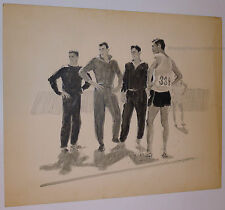 LIONEL GILBERT ORIGINAL ILLUSTRATION ART 1950 PAINTING SPORTS MALE ATHLETIC WEAR