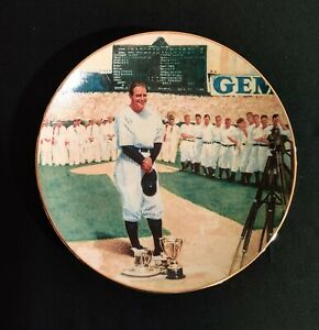 """Lou Gehrig Yankees 1993 Delphi 'Luckiest Man' Limited Edition Plate 8"""" MINT"""