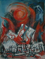 Mid Century Oil on Canvas Abstract Fire & Ice Signed Helen Keller Reppert