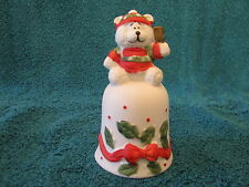 Vintage Christmas Bell Has A Bear For A Handle With Red Bows And Leavesholly