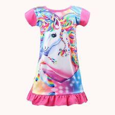 Unicorn Printed Toddler Girls Rainbow Nightshirt  Nightie Princess Night Dresses