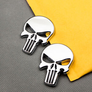 2Pcs Glossy Metal The Punisher Skull Badge Chrome Rear Lid Emblem Sticker Decal
