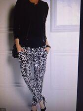 Isabel Marant Genuine Black & White Print Silk Trousers Size 38