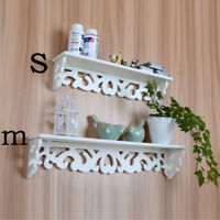 Fashion Modern Art White Wooden Wall Shelf Display Hanging Rack Storage Pip JX