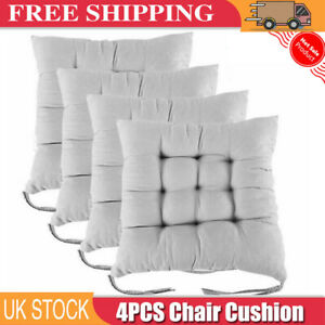 4Pcs Chair Seat Pads Garden Furniture Dining Patio Outdoor Tie On Cushions Thick