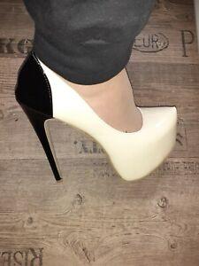Extrem High Heels Lack Beige-Schwarz 16,5 cm