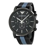 Emporio Armani AR1948 Black Nylon covered Leather Analog Quartz Men's Watch