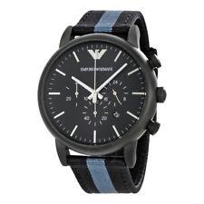 Emporio Armani AR1948 Black Nylon covered Leather Analog Quartz Men's Watch