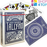 BICYCLE TALLY HO CIRCLE PLAYING CARDS DECK STANDARD INDEX LINOID FINISH BLUE USA