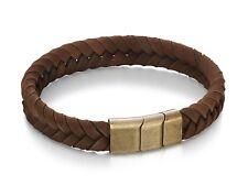 Fred Bennett Bracelet Brown Leather Plaited Men's Bracelet B4985
