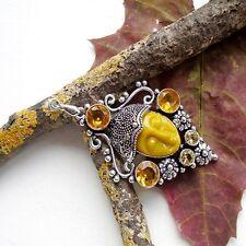 Howlith & Citrinquarz, gelb, orange, Maske, Gesicht, Anhänger, Silber plattiert