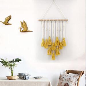 Bohemian Wall Tapestry Art Macrame Woven Hanging Backdrop Wedding Party Yellow