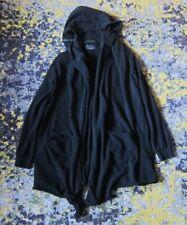 MENS ZARA Slub Cotton Hooded Long Drape Cardigan w/ Zipper Detail in Black sz L