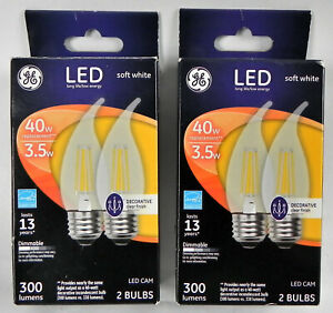 2 New Boxes GE LED Soft White Bulbs (4 Total), 3.5W (40W), Bent Tip Decorative