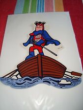 """Bud Man Budweiser Caped Patriot Row Boat 1970's Promo Sticker Decal 7x7"""" #76A"""