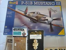 P51 B MUSTANG III R.A.F. 1/32 SCALE REVELL MODEL+PHOTOETCHED +RESIN WHEEL SET