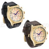 Men's Retro Arabic Numberals Leather Strap Sport Quartz Date Analog Wrist Watch